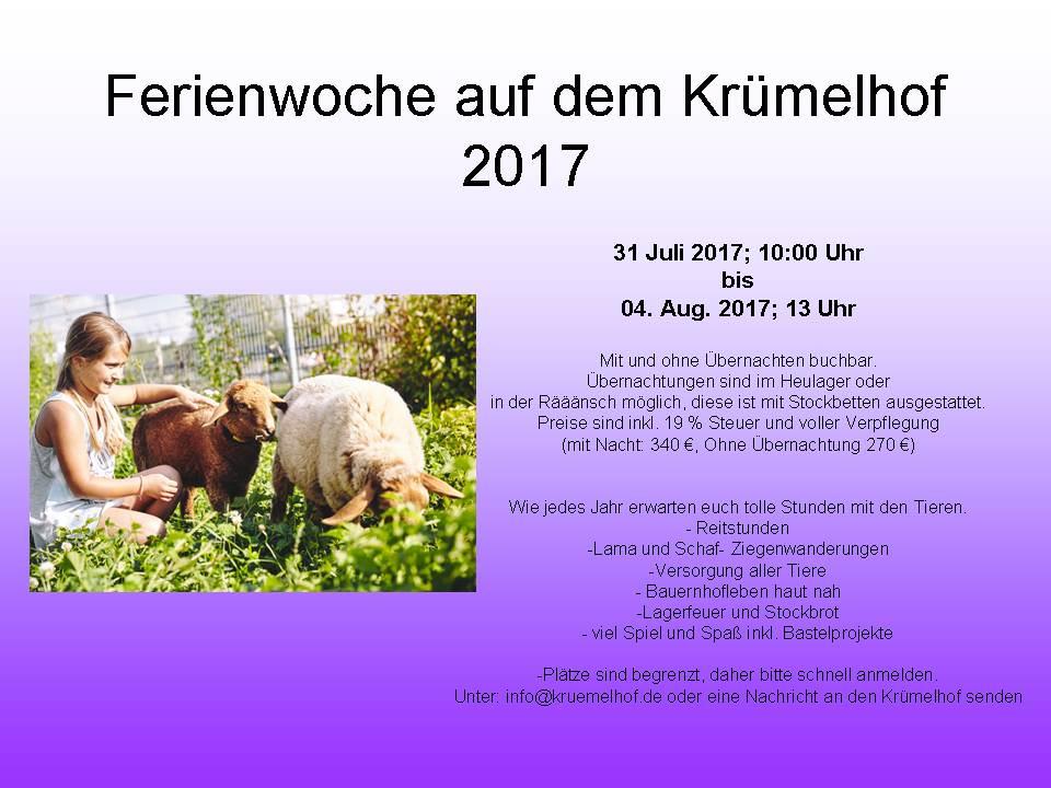 Ferienwoche auf dem Krümelhof 2017